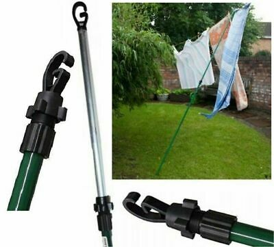 £10.99 • Buy 2.4m Galvanised Washing Line Prop Outdoor Extendable Heavy Duty Line Support Rod