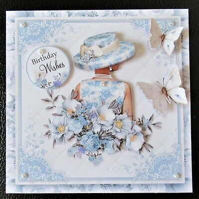 Handcrafted 3d Birthday Card Topper Pretty Lady In Blue • 1.70£