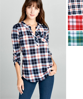 $6.99 • Buy USA Womens Plaid Check Button V-Neck 3/4 Sleeve Henley Tops T-Shirt Office Youth
