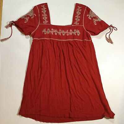 $24.99 • Buy Zara Womens Size Large Short Sleeves Tassel Embroidered Dress In Red