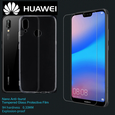 New Full Clear Gel Case /Front Tempered Glass Screen Protector Cover For HUAWEI • 2.89£
