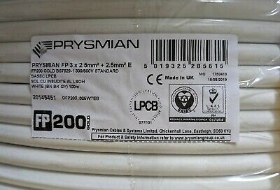 PRYSMIAN FP200 GOLD Earth White FIRE PROTECTED CABLE 3-CORE 2.5MM² X 100M 1PG • 123.50£