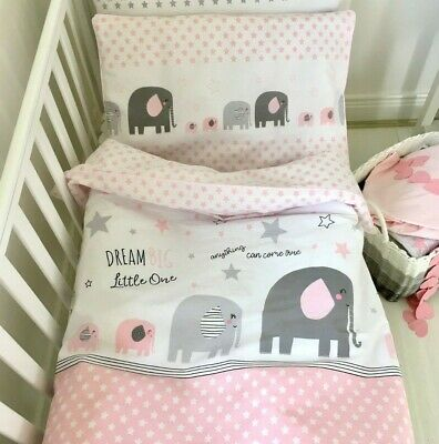 £23.99 • Buy Baby Girl Bedding  Set , Bumper, Fitted Sheet , Pastel Pink Grey  Pure Cotton,