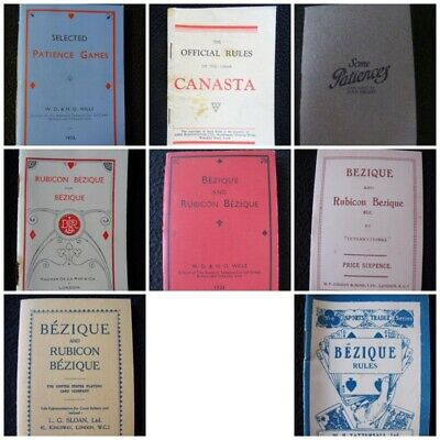 Vintage Rule Book Booklet Playing Card Games Patience Canasta Rubicon Bezique   • 7.99£