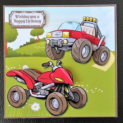Handcrafted 3d  Birthday Card Topper Have A Field Day Quad Bike And Jeep  • 1.60£