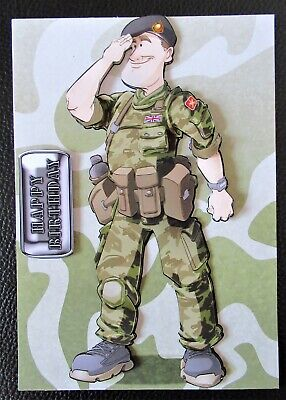 Handcrafted 3d  Birthday Card Topper Army Dude • 1.60£