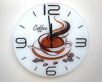 AU19.95 • Buy Wall Clock Tempered Glass Round Coffee Cup Brown White Kitchen Shop 35cm.