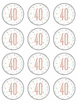 40 40th Birthday Rose Gold Theme Edible Cupcake Toppers Wafer Or Icing X 12 • 3.49£