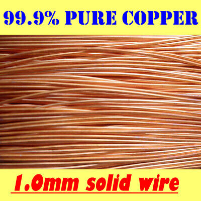 AU9.90 • Buy 10 METRES SOLID BRIGHT COPPER WIRE, 1.0 Mm = 19G SWG = 18G AWG !!FREE POSTAGE!!