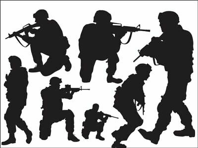 £3.99 • Buy Army Fighting  Silhouettes Edible Printed Cake Topper Kit Wafer Or Icing