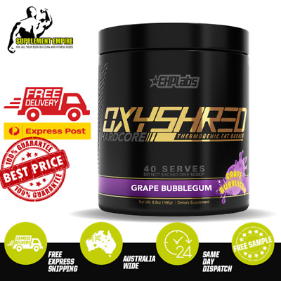 AU79.90 • Buy EHP Labs Oxyshred Hardcore Fat Burner Thermogenic Fat Loss EHPLabs GRAPE