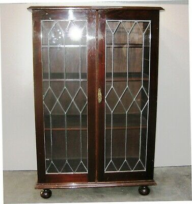 AU250 • Buy Antique Mahogany Crystal Cabinet Lead Light.