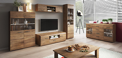 Living Room Furniture Set Glass Cabinet Tv Unit Stand Display LED Lights Shelf  • 196£