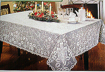 $34.50 • Buy Holly Glow 60x84 Rectangle White Tablecloth Heritage Lace NWOT