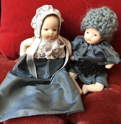 $ CDN33.04 • Buy Two Vintage Miniature  3 Inch Dolls Satin Outfits