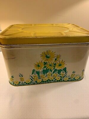 $14.99 • Buy Vintage Metal Tin Bread Box - Yellow With Flowers - Vent In The Back