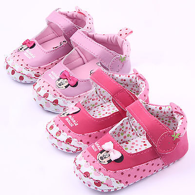 Newborn Infants Baby Girl Minnie Mouse Pre-Walker Soft Sole Pram Shoes Trainers • 6.93£