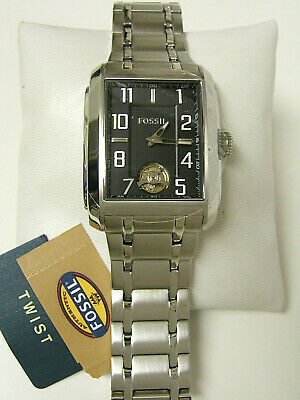 $99.99 • Buy (m) Fossil Silver Black Dial Mechanical Twist Watch  Me1108 New With Tag