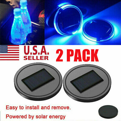 $12.99 • Buy 2X Solar LED Cup Pad Car Accessories Light Cover Interior Decoration Lights US