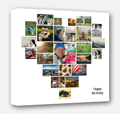 Personalised Heart Shape Collage Canvas Picture Prints - Wedding Birthday Gift • 20.99£