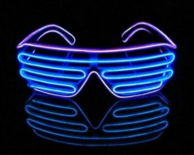 Neon LED Light Up Shutter EL Wire Glasses Glow Frame Dance Party Nightclub NEW • 2.40£