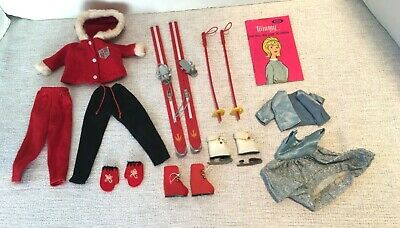 $ CDN28.14 • Buy Vintage BARBIE / TAMMY Red  SKIS AND POLES CLOTHES GLOVES SKATES BOOTS BLUE GOWN