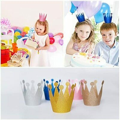 Birthday Crown Paper Glitter Hat Prince Princess Party Favors For Kids, 10pcs • 4.03£