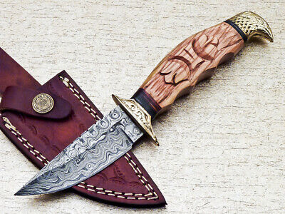 $9 • Buy Custom Hand Forged Damascus 9.0  Hunting Knife With Olive Wood Handle Ut-539