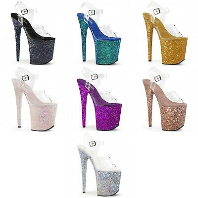 PLEASER Flamingo-808LG Glitter Pole Lap Dancing Stiletto Heel Shoes Sandals • 83.95£