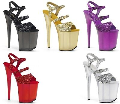 PLEASER Flamingo-874 Glitter Pole Lap Dancing Stiletto Heel Shoes Sandals • 80.95£