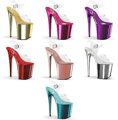 PLEASER Flamingo-808  Clear/Chrome Pole Lap Dancing Stiletto Heel Shoes Sandals • 76.95£