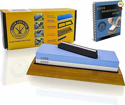 $34.99 • Buy Premium Whetstone Knife Sharpening Stone Kit 2 Sided Water Stone 1000 6000 Grit