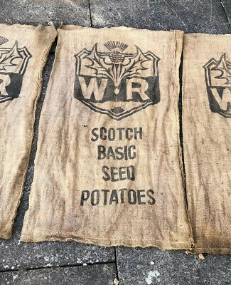 Old Vintage W R Scotch Seed Thistle Potatoes Hessian Sack Advertising • 15£