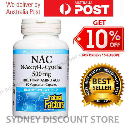 AU42.91 • Buy Natural Factors N-Acetyl-L Cysteine 500 Mg 90 Capsules Antioxidant Support