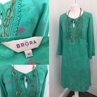 Brora Green Divinely Soft Kaftan Dress Paint Splash Embroidered Sz 10 Loops • 34.99£