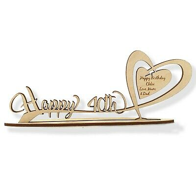 Personalised Wooden Freestanding Heart Inc Age & Engraved Birthday Gift Message  • 5.99£