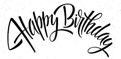 Birthday - Text - Happy Birthday #3 Unmounted Clear Stamp Approx 60x29mm • 3.99£