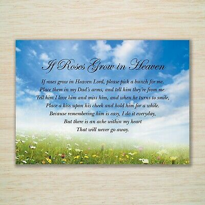 £3.25 • Buy Father's Day Eco Memorial Card Dad  If Roses Grow In Heaven  Weatherproof, Stake