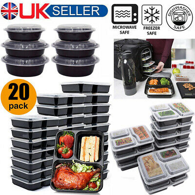 Meal Prep Food Containers BPA Free Plastic Lunch Box Lids Microwavable Reusable • 13.87£