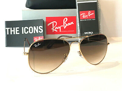 AU119 • Buy Ray-ban Aviator Rayban Gradient Brown Lens Gold Frame Rb3025 Size 58 Sunglasses