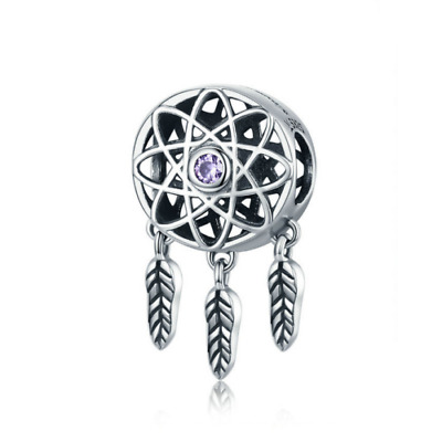 AU25.99 • Buy SOLID Sterling Silver Mystical Dream Catcher Purple CZ Charm By Pandora's Wish