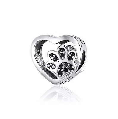 AU24.99 • Buy SOLID Sterling Silver My Sweet Pet Paw Charm - Black CZ By YOUnique Designs