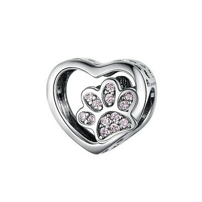 AU24.99 • Buy SOLID Sterling Silver My Sweet Pet Paw Charm - PINK CZ By Pandora's Wish