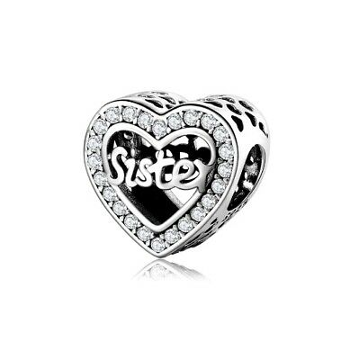 AU27.99 • Buy SOLID Sterling Silver Sparkling Sister Love Heart Charm By Pandora's Wish