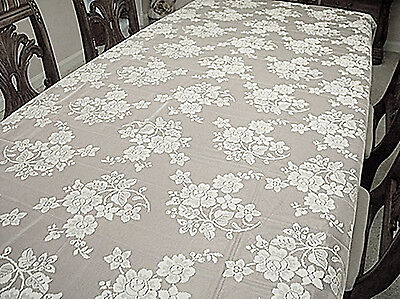 $33.50 • Buy Rose Bouquet  52X70 White Rectangle Lace Tablecloth Oxford House NWOT