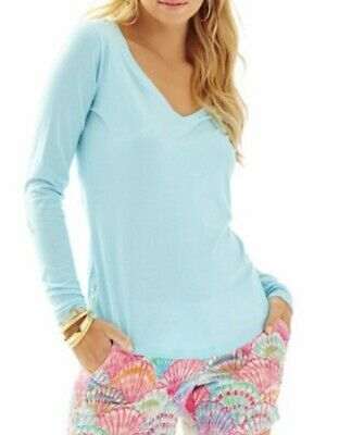$14.99 • Buy NWD  $68 Lilly Pulitzer Spa Blue Nellie Long Sleeve Top L