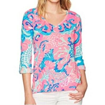 $19.99 • Buy New $68 Lilly  Pulitzer Jennifer Long Sleeve Coral Reef I'm So Jelly Size L