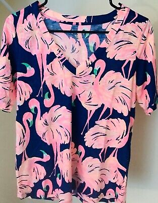 $19.99 • Buy CLEARANCE NEw $48 Lilly Pulitzer Gimme Some Leg Ida V Neck Top M