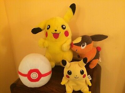Pokemon Plush Soft Toy X 4  Pikachu  Pokeball & Tepig  Bundle • 12.99£