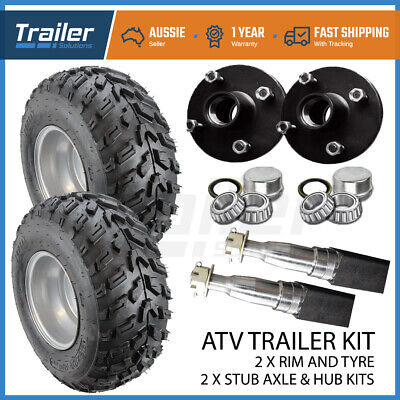 AU215 • Buy 10  Atv Rim & Tyre Hub 40mm Stub Axle Kit Qwad Quad Bike Mower Trailer Farm